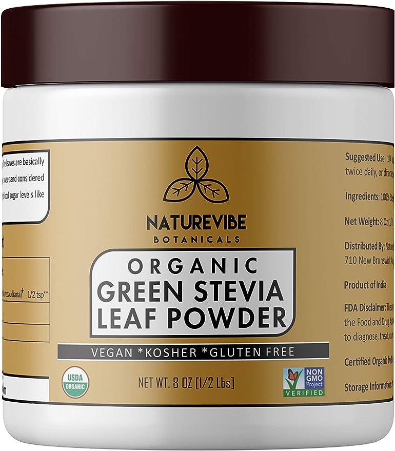 Organic Green Stevia Leaf Powder (1/2 lb) by Naturevibe ...