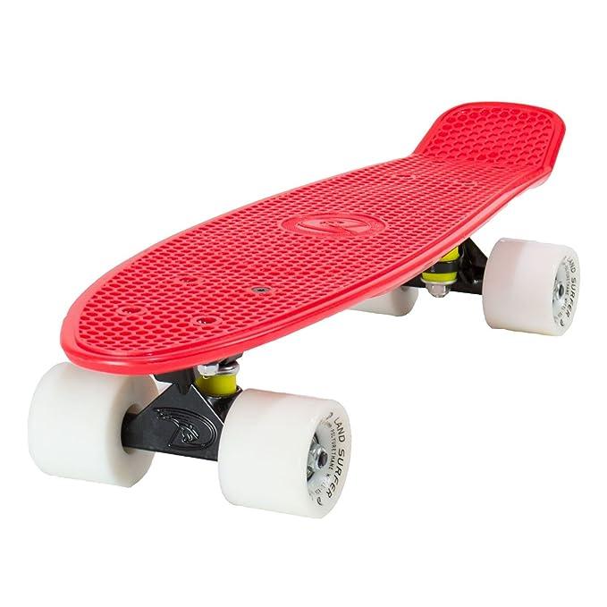 20 opinioni per Land SURFER® Skateboard Cruiser Completo 56cm con tavola Rossa e Carrello Nero-