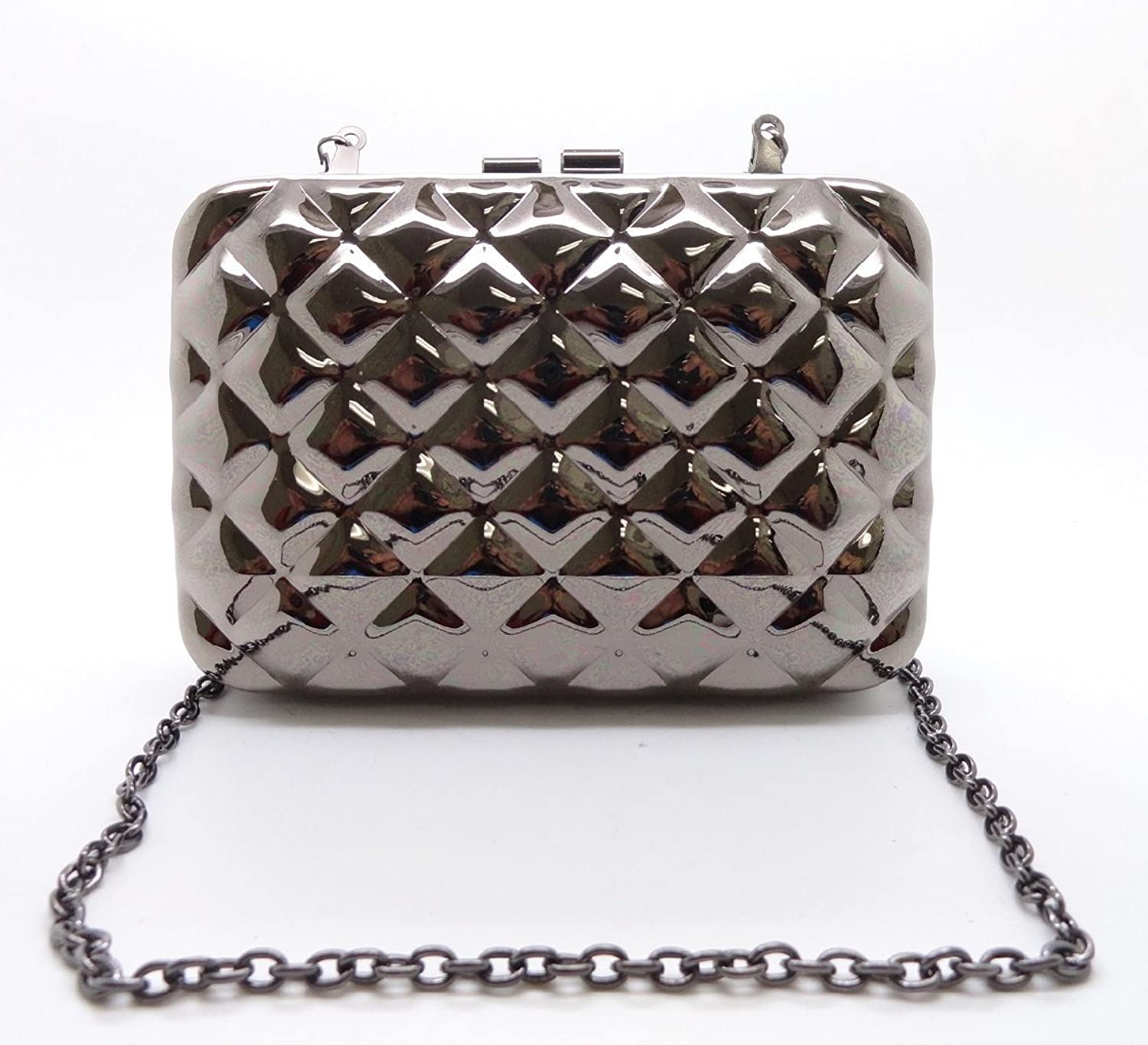 Hearty Trendy Quilted Pattern Clutch Pewter