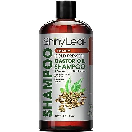 Shiny Leaf Champú con aceite de ricino - champú para el crecimiento del cabello, champú