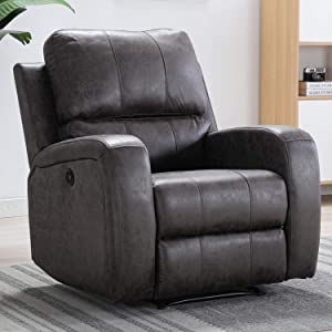 Bonzy Home Power Recliner Chair Air Suede - Overstuffed Electric Faux Suede Leather Recliner Chair with USB Charge Port - Home Theater Seating - Bedroom & Living Room Chair Recliner Sofa (Smoke Gray)