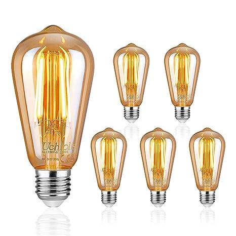 Uchorlls Bombilla de Filamento LED E27, 6W (equivalente a 60W), 700LM,