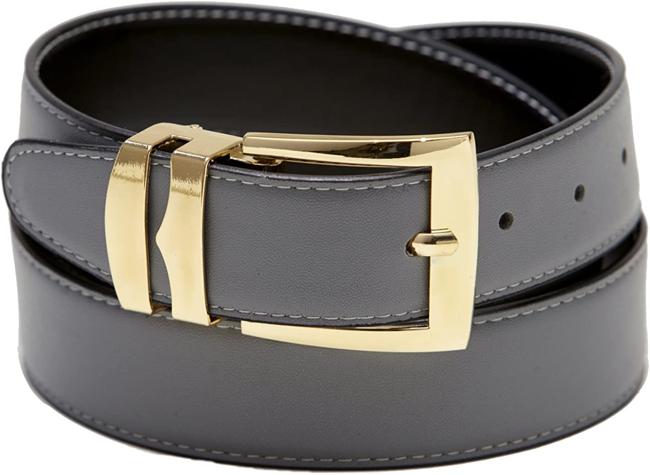 Reversible Belt Wide BLACK//Charcoal with White Stitching Gold-Tone Buckle