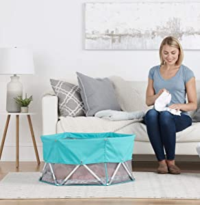 Regalo 2-in-1 Sensory My Play Baby Portable Bassinet, Indoor & Outdoor, Bonus Kit, Includes UPF Canopy, Removable & Washable Padded Bottom & Carry Case, Aqua