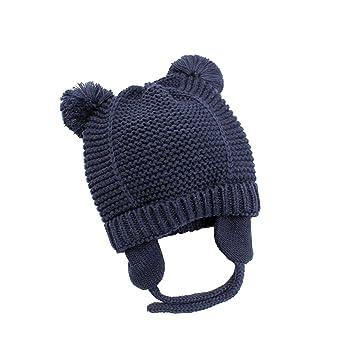 Boomly Baby Neonato Bambini Invernali Caldo Morbido Treccia Cappello di  Maglia Beanie Berretto con Pompon Cappello con Paraorecchie  Amazon.it  ... 3054a797ca12