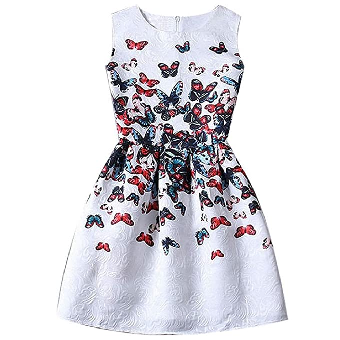 Princess Summer Sleeveless Girl Dress Vintage Print Floral Girl Dresses Plus Size For Formal Teenage Girls