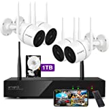 XMARTO Wireless Security Camera System - 8CH Expandable NVR with 4 1080p WiFi Security Cameras - PIR & Video Dual Motion…