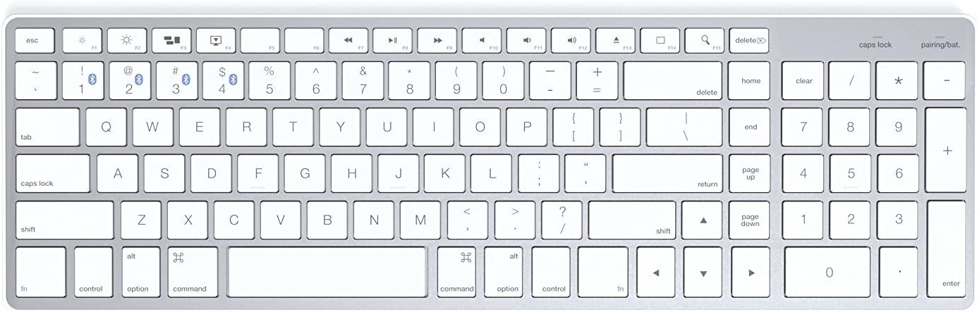 Satechi Bluetooth Wireless Smart Keyboard with 4-Device Sync - Compatible with MacBook Pro, MacBook Air, iMac, iMac Pro, iPad Pro and iOS Devices (White (Mac)