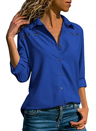 897574938c6 Lovezesent Womens Button Detail V Neck Chiffon Blouses and Shirts Button  Down Loose Fitting Henly Shirts