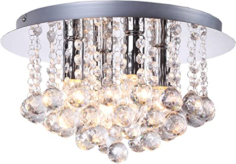 Modern Elegant Polished Chrome 4 Light Round Crystal Flush Ceiling Light Fitting With Crystal Drops Which Create A Stunning Effect Takes Led Or Halogen Lamps Amazon Co Uk Lighting