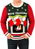 Festified Men's Ipad Tablet Fireplace Ugly Christmas Sweater In Green