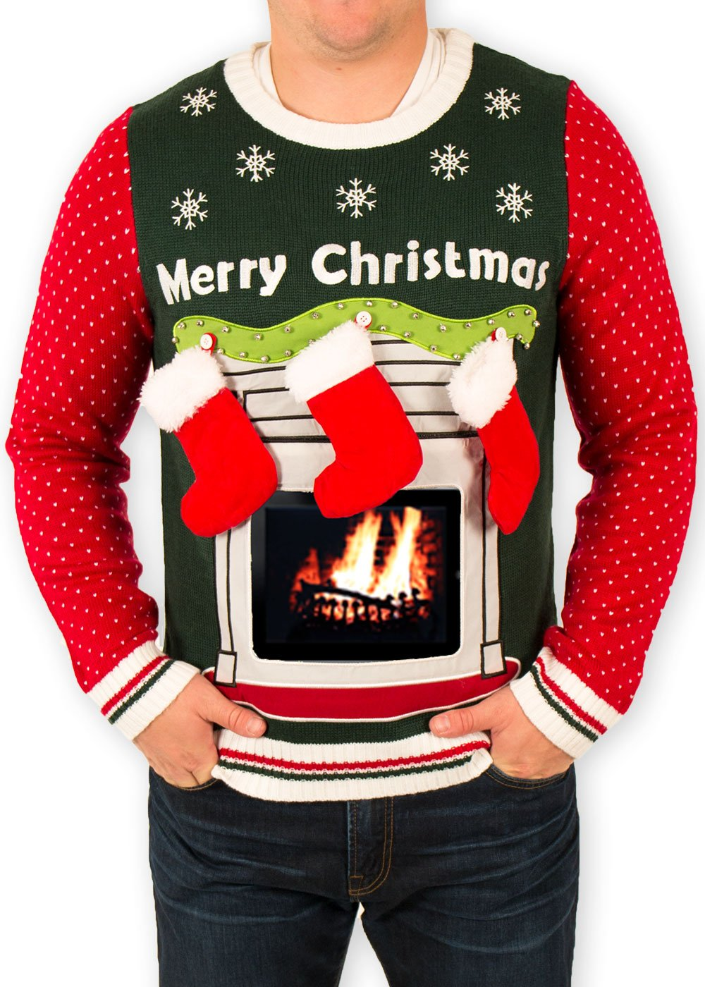 Festified Men's iPad Tablet Fireplace Ugly Christmas Sweater in Green (2X-Large)
