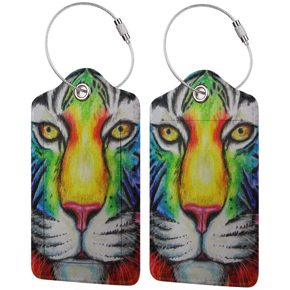 Tiger Colorful Graphic Head Travel Luggage Tags With Full Privacy Cover Leather Case And Stainless Steel Loop