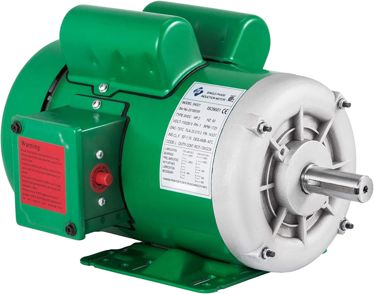 Mophorn Electric Motor 2Hp 143 5T Frame Single Phase Motor 1800 RPM 60Hz Air Compressor Motor AC 115V 230V Suit for Agricultural Machinery and General Equipment