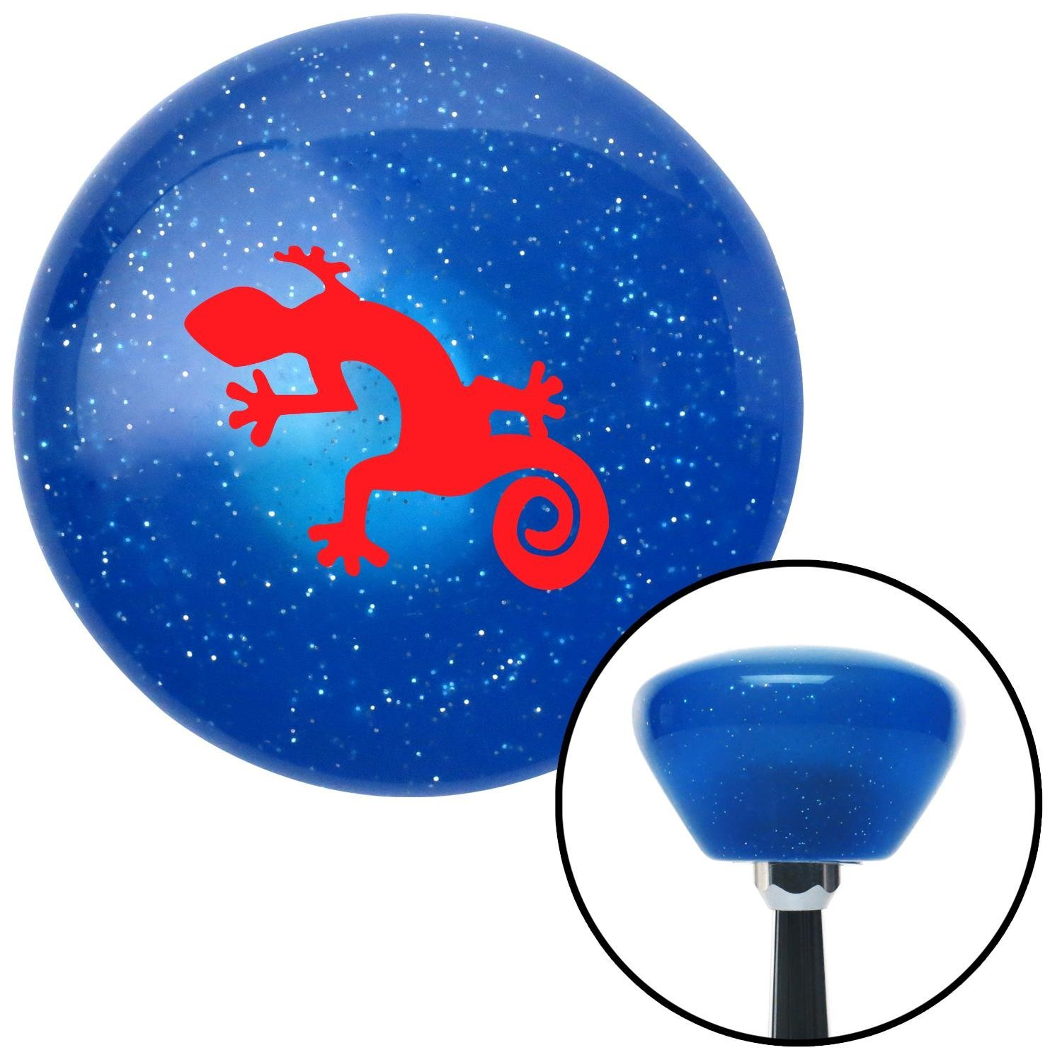 American Shifter 189636 Blue Retro Metal Flake Shift Knob with M16 x 1.5 Insert Red Gecko