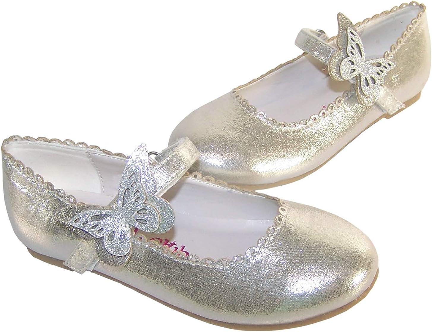 Zapatos de bailarina de fiesta con ribete de mariposa para ni/ñas