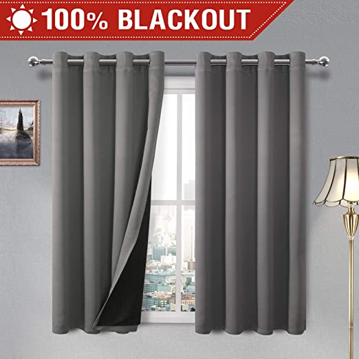 2 Panels Blackout Energy Efficient Reduces Outside Noise Heavy Drape Curtain Set