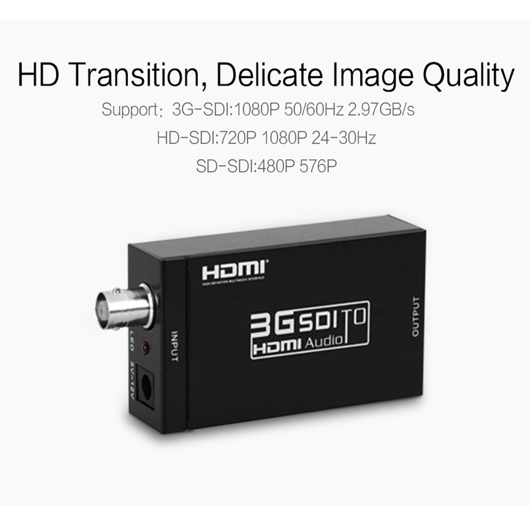 Basicolor SDI to HDMI Converter Mini 3G SDI HDMI Adapter with BNC Coaxical Support Full HD 1080p SD-SDI/HD-SDI/3G-SDI to HDMI Adapter Mini HD Video Convert for Camera PC Home Theater (Black) by Basicolor (Image #4)