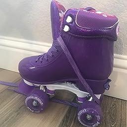 Amazon Com Customer Reviews Crazy Skates Adjustable Roller Skates For Girls And Boys Glitter Pop Collection Purple Sizes Jr12 2