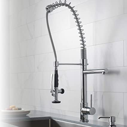 kraus kpf 1602 single handle pull down kitchen faucet commercial rh amazon com