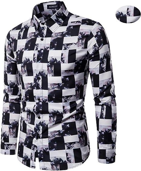 X&Armanis Camisa Casual de otoño para Hombre, Camisa Estampada a Cuadros Irregulares de poliéster Camiseta de Manga Larga con Solapa: Amazon.es: Deportes y aire libre
