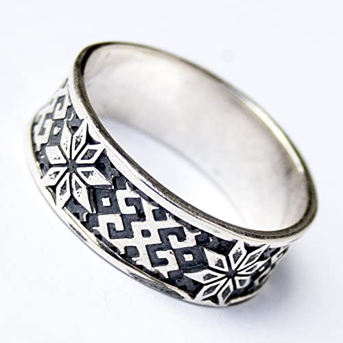 Alatyr Viking Ring Sterling Silver Wedding Band Celtic Rings for