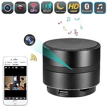 Altavoz Bluetooth Cámara Espía Oculta HD 1080P WIFI Visión Nocturna Reproductor De Música Estéreo Inalámbrico Detección
