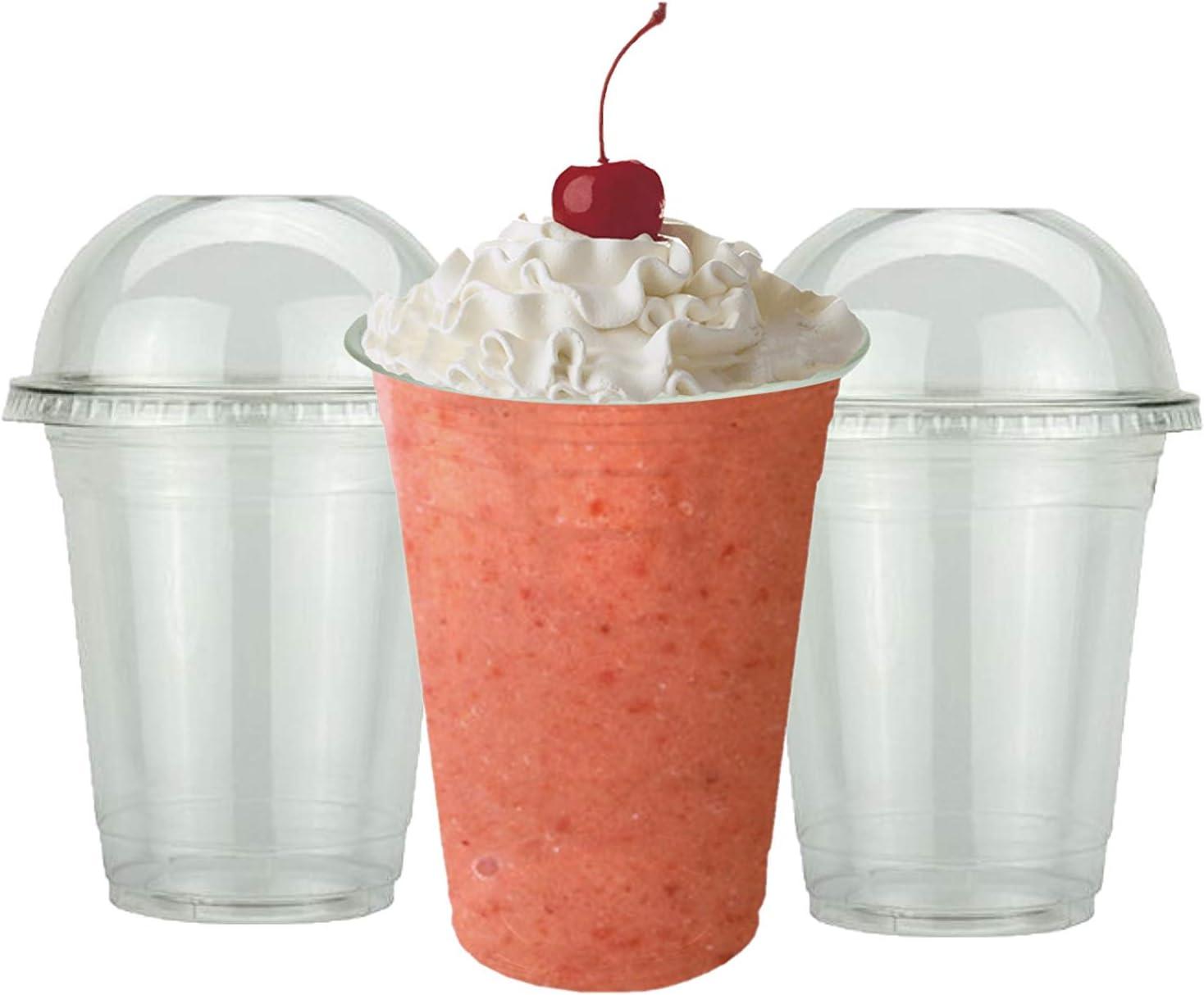 SIGNATURE PACKAGING Tazas de batido de plástico fuerte con tapas de domos - tazas de batido - ideal para batidos, batidos de leche y bebidas gruesas - 50 paquete de 16 oz