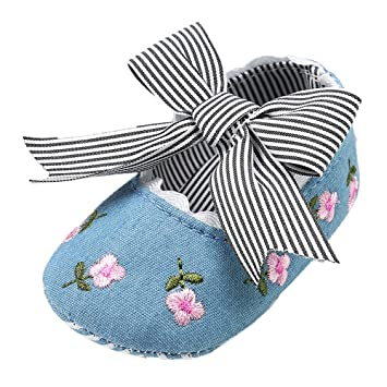 Cyhulu Newborn Baby Girls Exquisite Embroidery Flower Canvas Bowknot  Striped Infant Baby Birthday Valentine s Day Gifts cf4ad1c8075f