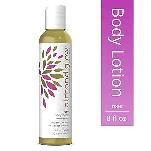Home Health Almond Glow Rose Body Lotion - 8 fl oz - Skin Moisturizer & Massage Oil, With Peanut, Olive & Lanolin Oils Plus Vitamin E- Non-GMO, Paraben-Free, Vegetarian