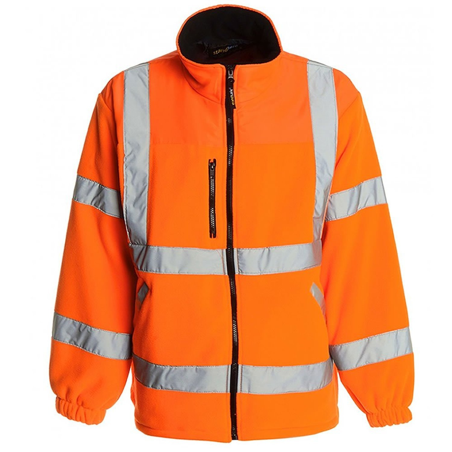 Hi Viz Fleece Premium Safety Bomber Jacket Warm Mens Work Coat ...