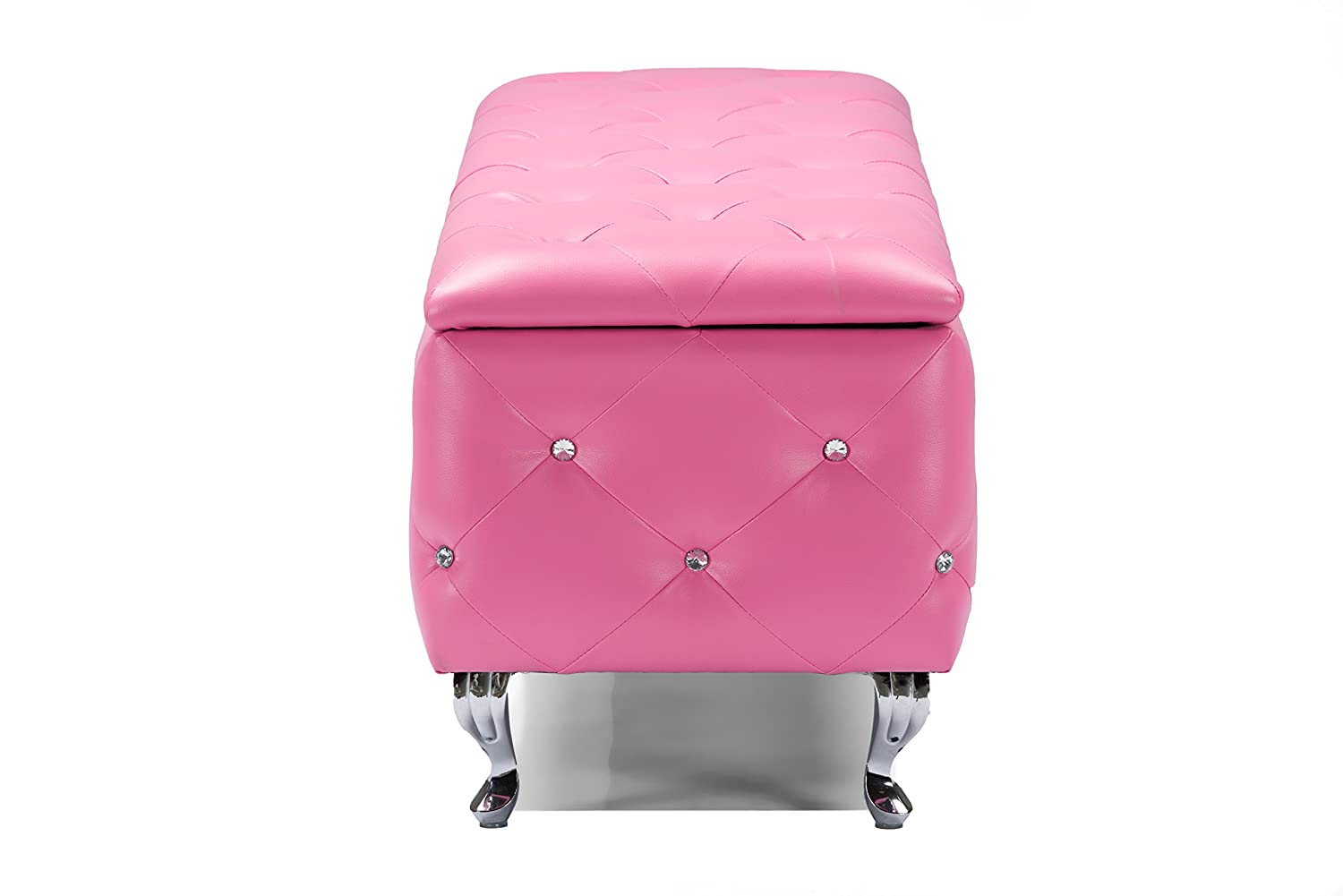 amazoncom baxton studio seine pink upholstered leather storage ottoman kitchen u0026 dining