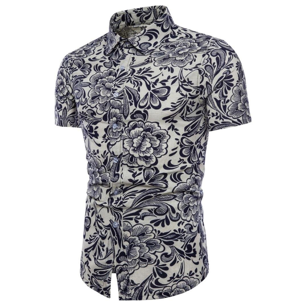 a4595f10ab PRINCER Mens Shirts Vintage,Summer Bohe Floral Printed Short Sleeve Linen  Tees Straight Fit Casual Handsome Daily T Shirt Polo Blouse Top Pullover  Plus ...