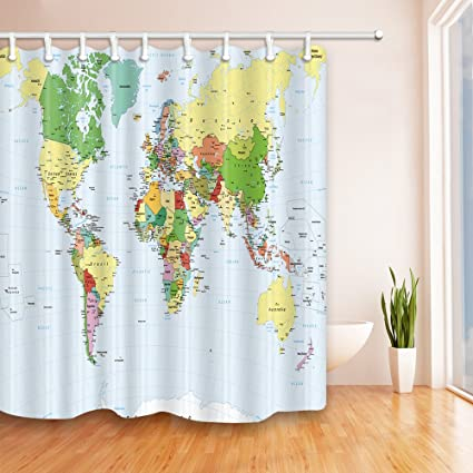 Amazon Com Feierman Colorful World Map Shower Curtain Beautiful And