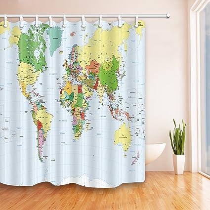 Amazon Com Feierman Colorful World Map Shower Curtain Beautiful And