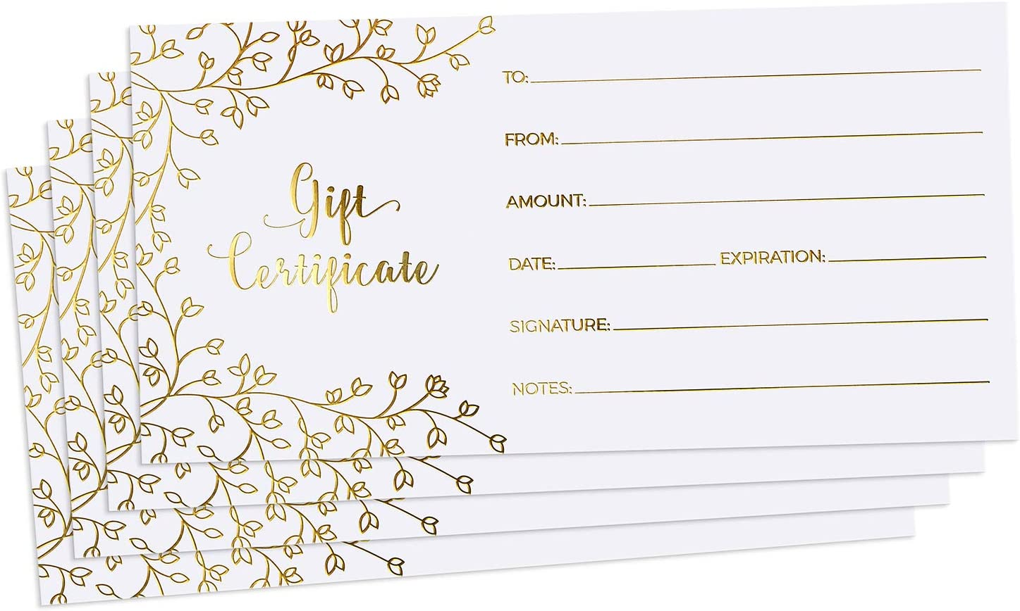 """Blank Gift Certificates for Business - 25 Gold Foil Gift Certificate Cards with Envelopes for Spa, Salon, Restaurants, Custom Client Vouchers for Birthday, Work Gift Card - 3.75x7.5"""""""