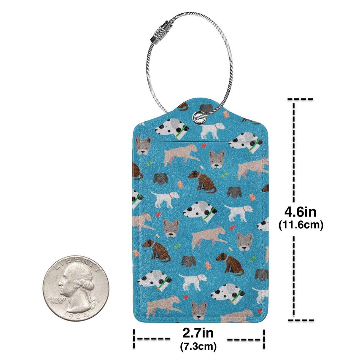 Cute Dog And Dog Face Luggage Tag Label Travel Bag Label With Privacy Cover Luggage Tag Leather Personalized Suitcase Tag Travel Accessories