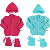 KiddosCare Woollen Knitted for New Born Baby Suit (Pink/Blue, Set of 2)