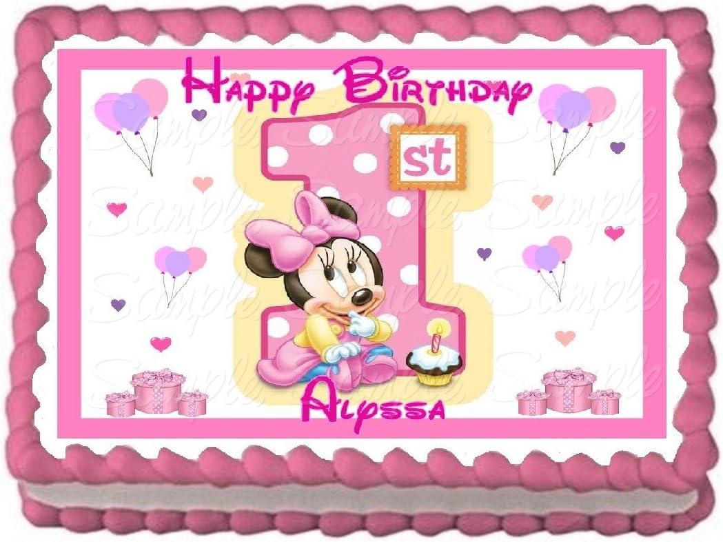 Miraculous Amazon Com Baby Minnie 1St Birthday Edible Frosting Sheet Cake Funny Birthday Cards Online Inifofree Goldxyz