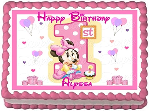 Marvelous Amazon Com Baby Minnie 1St Birthday Edible Frosting Sheet Cake Funny Birthday Cards Online Sheoxdamsfinfo