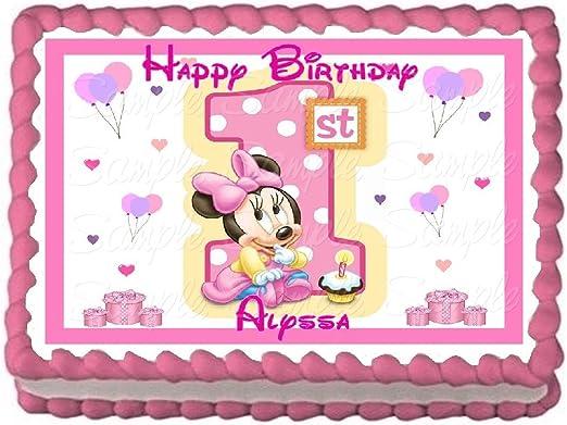 Strange Amazon Com Baby Minnie 1St Birthday Edible Frosting Sheet Cake Birthday Cards Printable Riciscafe Filternl