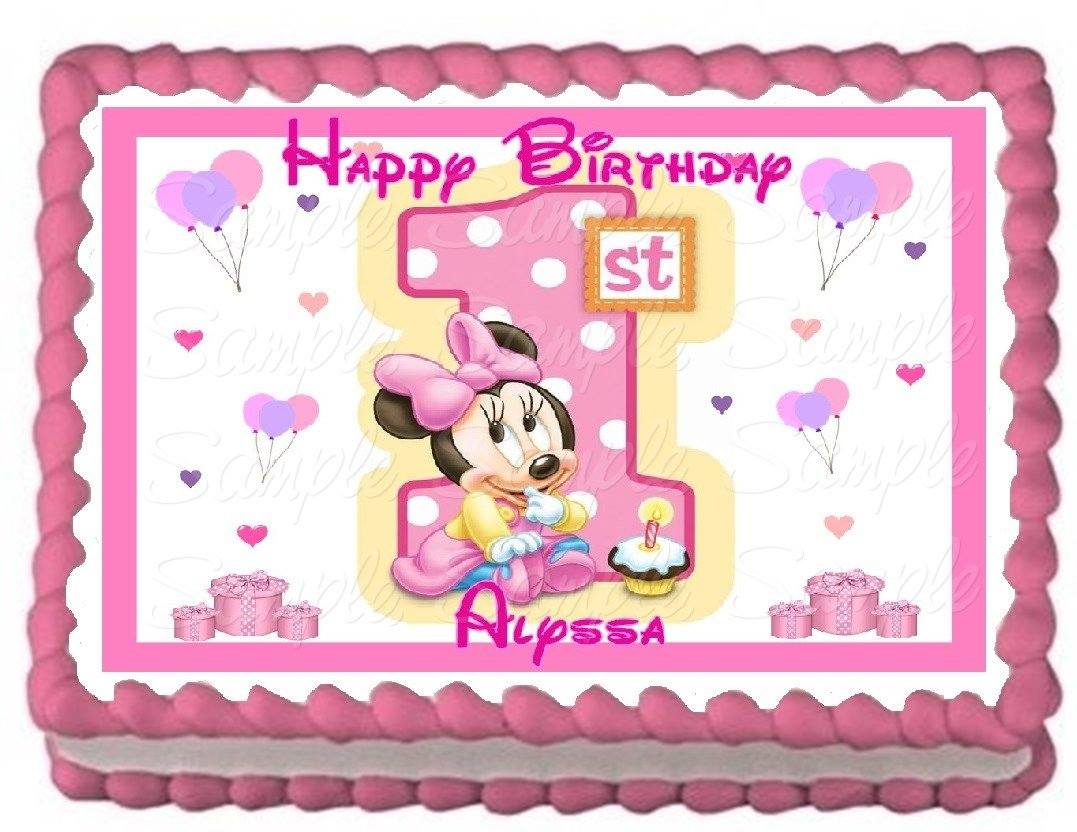 Amazoncom Baby Minnie 1st Birthday Edible Frosting Sheet Cake