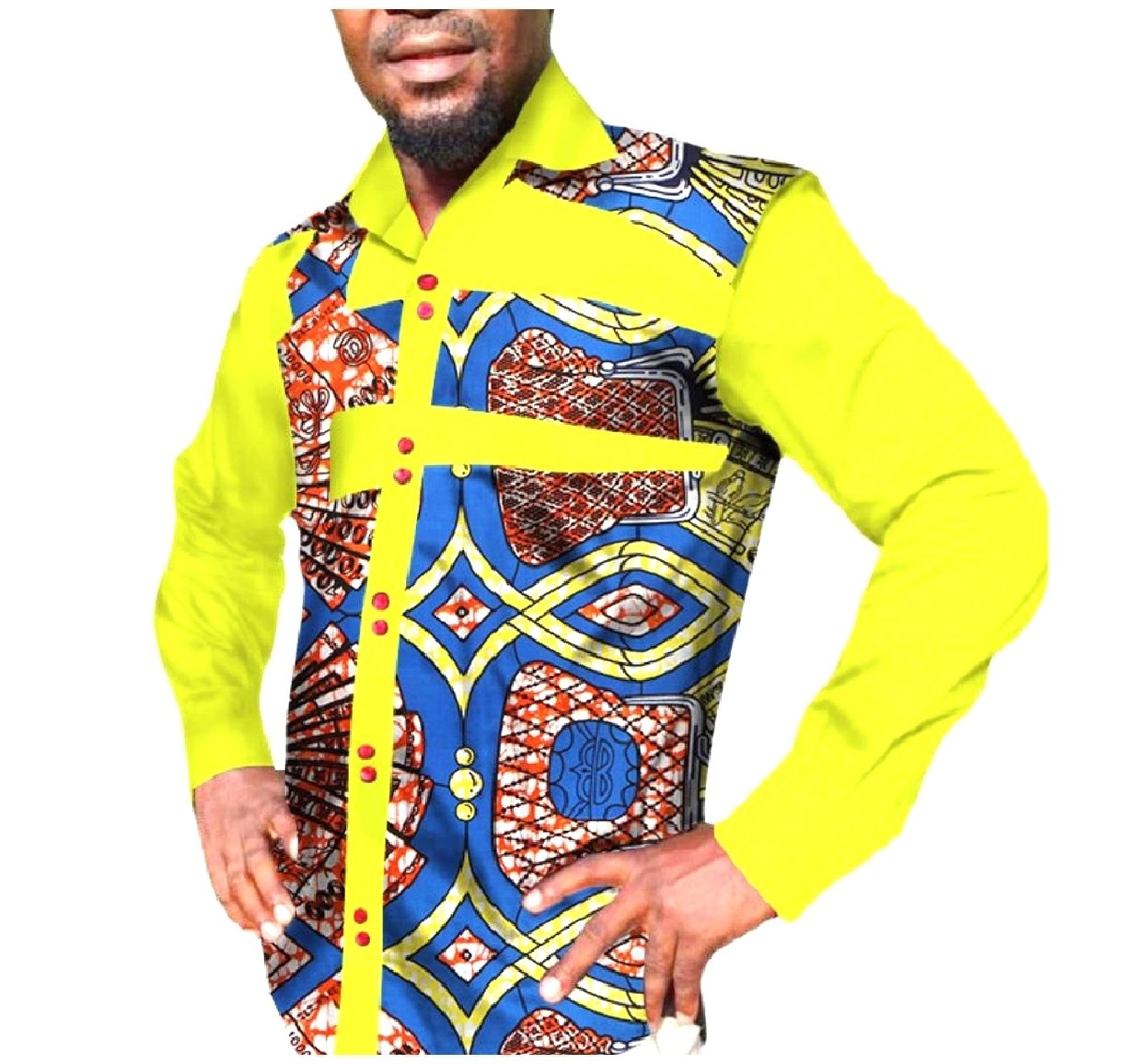 Tootless Men's Fine Cotton Patchwork Dashiki African Printed Shirt Tops Yellow S