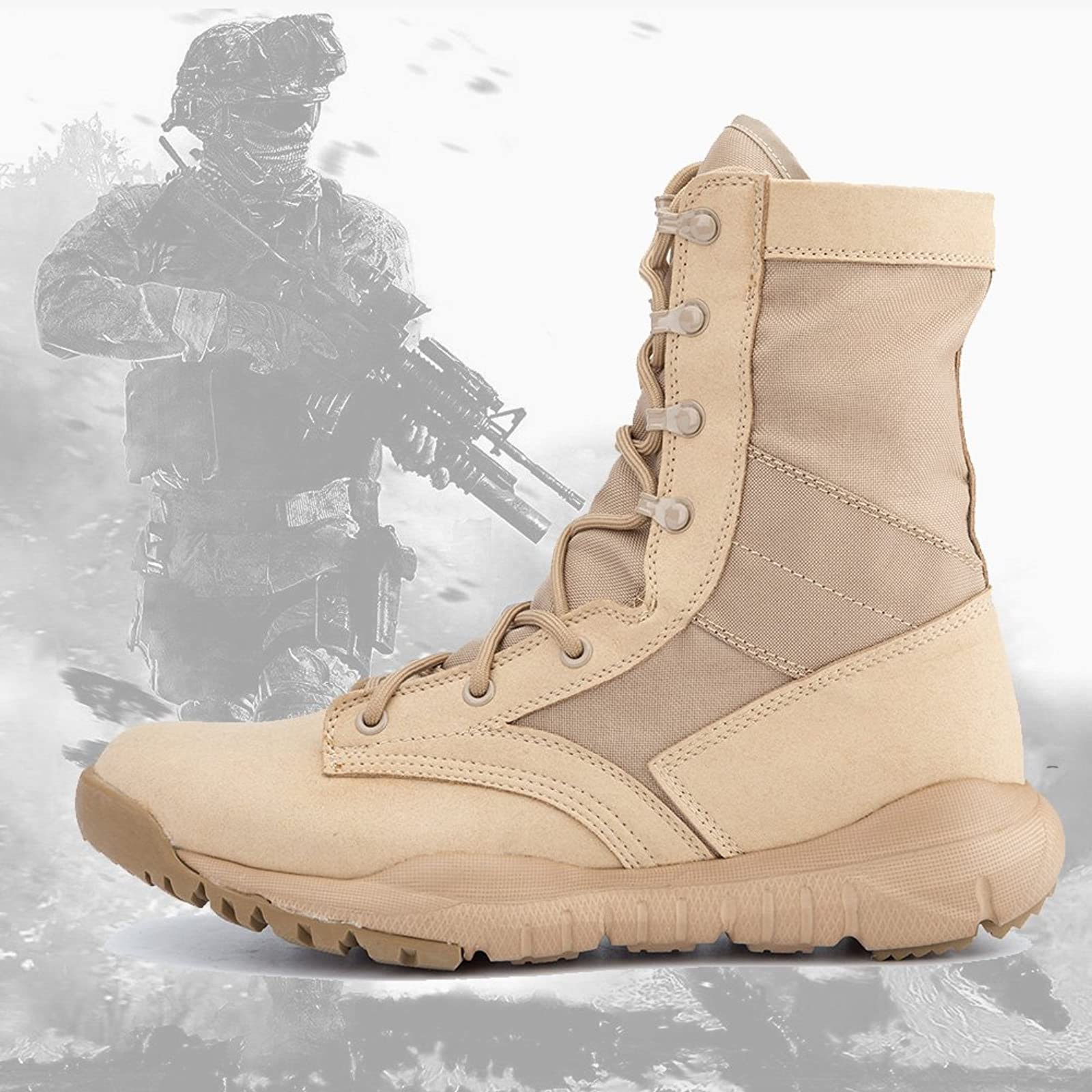 IODSON US Mens' Ultra-Light Combat Boots Beige 9.5 M US - 6