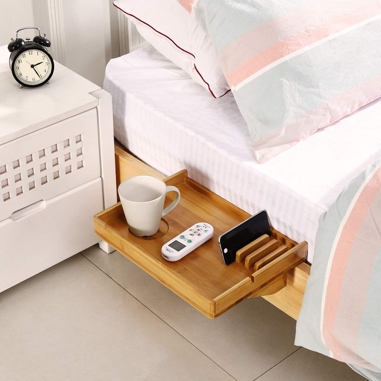 MallBoo Natural Bamboo Simple Bedside Shelf- Used for Children's Beds, Bunk Beds and Dormitory Beds,Organier for Phones, Tablet, Toys, Drink, Clock etc