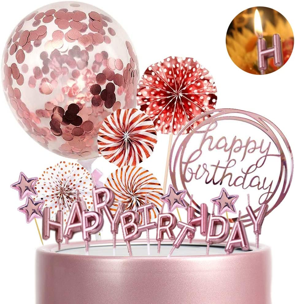 MEMOVAN Rose Gold Cake Topper Cake Decoration with Happy Birthday Candles Acrylic Birthday Cake Topper Confetti Balloon Paper Fan Pink Star Cake Cupcake Topper for Rose Gold Theme Birthday Party Decor