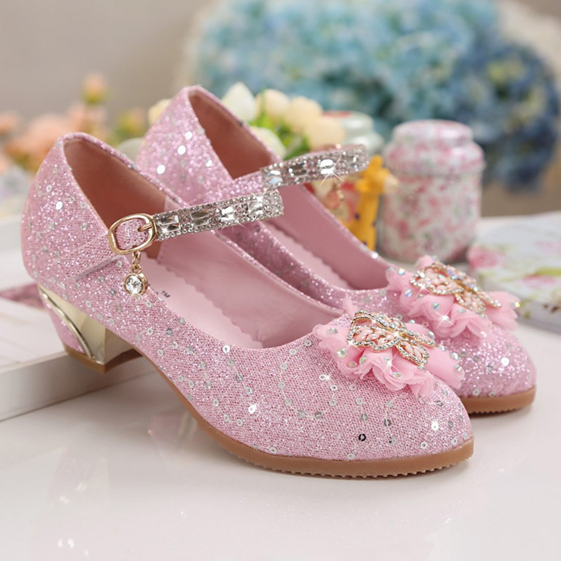 Toddler Littlle Big Kids Girls Glitter Wedding Shoes Dancing Party Mary Jane Flat Shoes Pink Size 2 by YANGXING (Image #4)