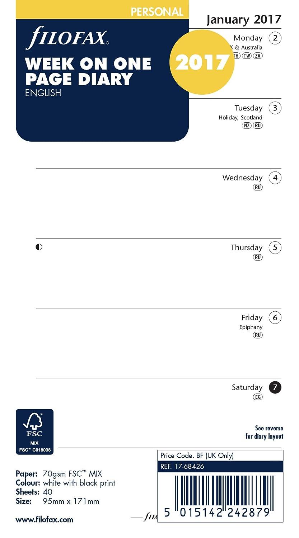 Filofax - Agenda en inglés, 2017, formato semanal por página ...
