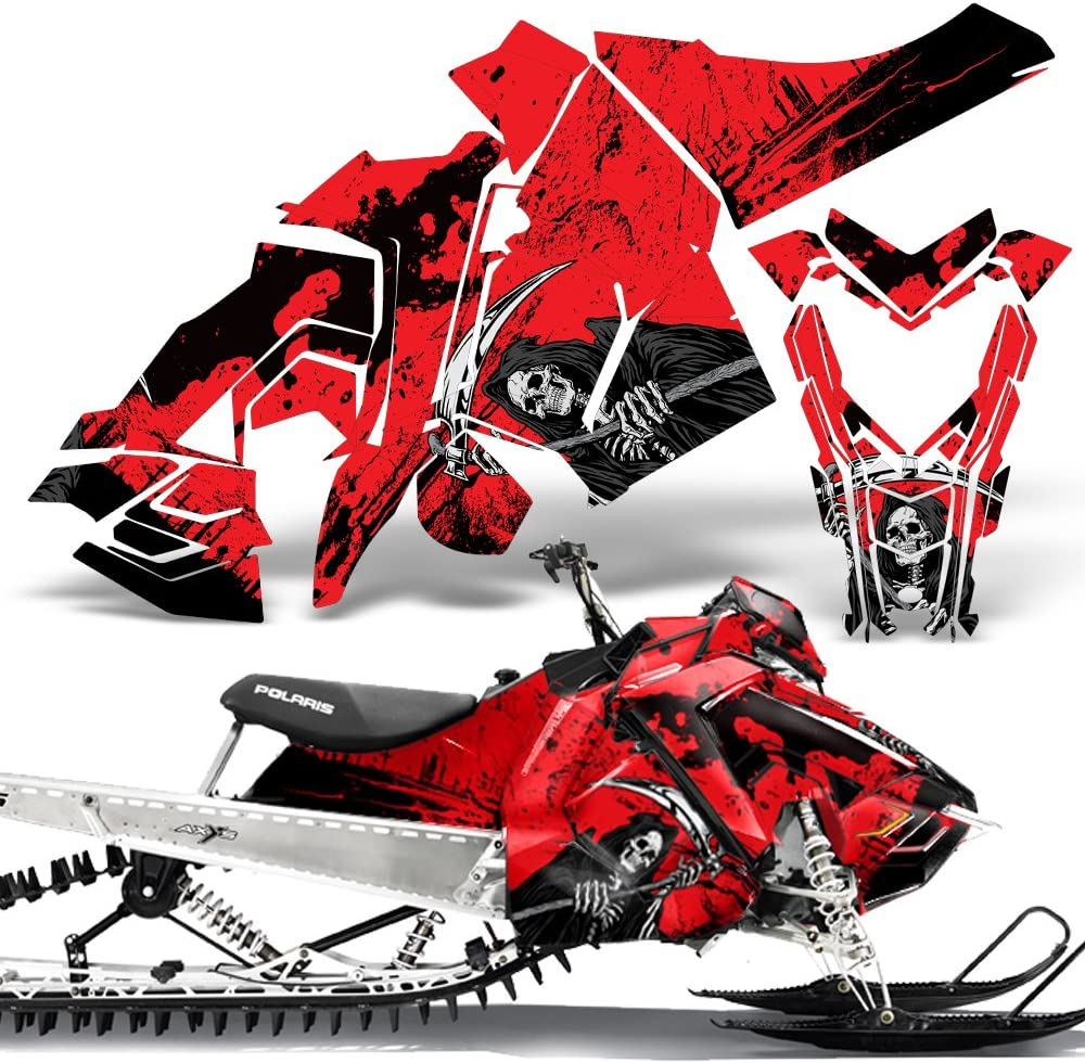 Polaris AXYS SKS Pro RMK Sled Wrap Graphic Kit Stickers Snowmobile REAPER GREEN