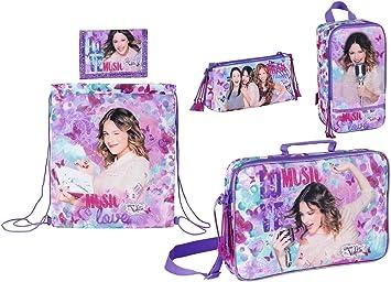 Disney Violetta – Mochila Escolar, Bolsa de Deporte, Bolsa de Zapatos, Estuche y Monedero, Color Lila: Amazon.es: Equipaje